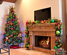 Multi Colored light Christmas tree with the Traditional Christmas
