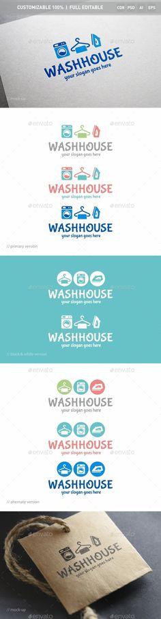 Washhouse Logo Template: Object Logo Design Template created by ukido. Laundry Logo, Laundry Shop, Laundry Signs, Laundry Rooms, Letterhead Template, Logo Design Template, Brochure Template, Logo Templates, Laundromat Business