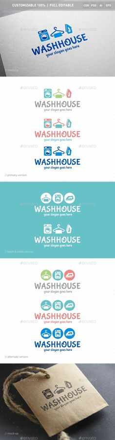 Washhouse Logo Template — Photoshop PSD #home cleaning #laundry • Available here → https://graphicriver.net/item/washhouse-logo-template/14475181?ref=pxcr