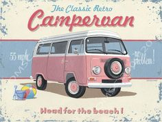 A vintage VW camper van is featured on this great retro styled Campervan Metal Sign. This sign will make a terrific gift for fans of vintage Volkswagen vans as well as fans of the beach. Add to your home decor or create a vintage look in your garage. Vw Camper, Vw Bus, Volkswagen T1, Vw Beach, Kombi Home, Beach Illustration, Vintage Metal Signs, Vintage Man, Vintage Fashion