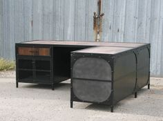 reclaimed wood and steel desk - the executive-