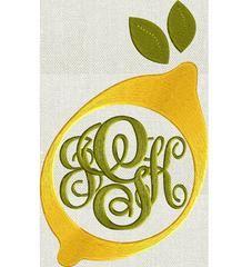 Lemon Frame Design - Fruit - EMBROIDERY DESIGN FILE - Instant download - Vp3 Dst Hus Jef Pes Exp formats