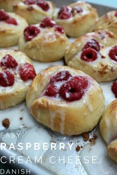 Easy Raspberry Cream Cheese Danishes are so amazing and simple. Filled with fresh raspberries and cream cheese, then topped with a classic almond glaze. Delish!
