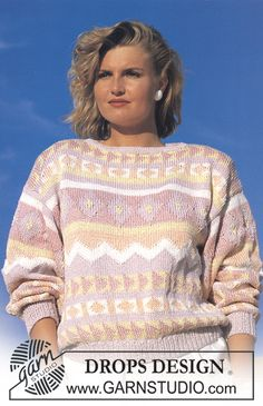 """DROPS jumper with pattern borders in """"Muskat"""". Sweater Knitting Patterns, Free Knitting, Crochet Patterns, Drops Design, Border Pattern, Free Pattern, Pull Jacquard, Sewing Sleeves, Magazine Drops"""