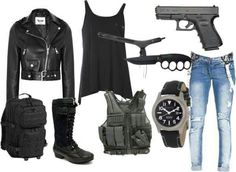 """""""zombie apocolypse survival set"""" At least you can look hot while killing zombies lol Zombie Apocalypse Outfit, Apocalypse Fashion, Zombie Apocalypse Survival, Zombie Apocolypse, Survival Weapons, Survival Gear, Pastel Outfit, Walking Dead Clothes, Cool Outfits"""