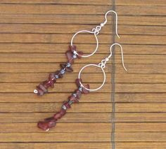 Deep red organic dangle earrings by MadeADiff2That1 on Etsy, $11.00