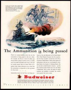 "1943 WW II USN US Navy Battleship 5"" Guns Blazing War WWII WW2 Budweiser AD"