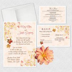 Fall in Love Wedding Invitation, Fall Leaves Invitations | newyorkinvitations.com
