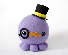 octopus+with+mustache | New Item: Moustache Octopus Plush Series : cheek and stitch