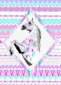TWIN SHADOW art print ponny horse hipster urban outfitters kris tate vasare nar native aztec geoemtric pastel background
