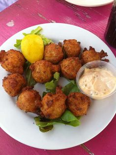Hush Puppies ~ AJ's Dockside, Savannah, GA.  We were visiting a friend in Savannah and he took us to AJ's.  It was a pretty fun experience to dock the boat and be at a restaurant.  The Po Boys were great also.