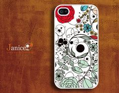 iphone 4s case iphone case iphone 4 cover sweet colorized classic red  flower unique Iphone case. $13.99, via Etsy.