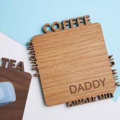 How to make the perfect cuppa for your loved one, perfectly laser cut out of one piece of wood in either walnut or oak and engraved with a name. Great for Dad's, step Dad's and Grandad's this Fathers Day!!