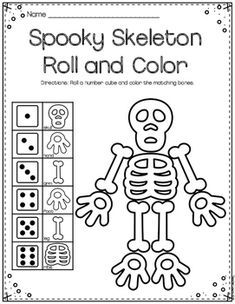Here is a fast fun freebie! Just grab a number cube, and roll. Color the matching bones!This game is great and can be played with some yummy bone-shaped chips too!