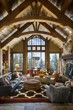 LOG CABIN- Visually, log homes tend to separate into two broad options. One is the historic style with dovetail corners and Chinking, that you see on our 55 Best Log Cabin Homes Modern page. The other, which you see on… Continue Reading → Mountain Living, Mountain Homes, Mountain Cabins, Lake Mountain, Timber Frame Homes, Log Cabin Homes, Log Cabins, Log Cabin Bedrooms, Barndominium