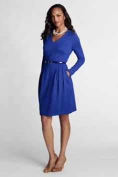 Women's Pleat Shoulder Drapey Ponté V-neck Dress from Lands' End    IT HAS POCKETS.  YES!!!