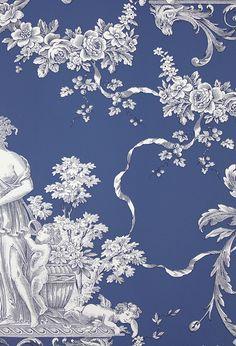 Simply Toile  fabric .. X ღɱɧღ    ⊰✿ Biltmore Wallpaper An elegant toile wallpaper in blue.