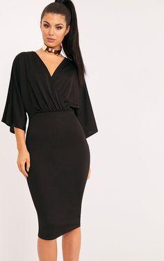 Renee Black Cape Midi Dress