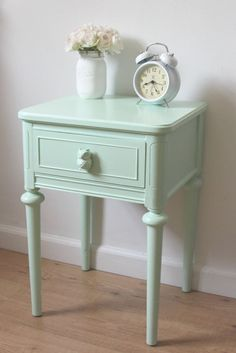 Small Nightstand Chic Mint Green Nightstand Hand Painted Nightstand Small End Table Side Bed Table Bedroom Furniture Nightstand For Girl - Modern Furniture: Affordable, Unique, Edgy Bedroom End Tables, Bed Table, Bedroom Night Stands, Green Nightstands, Small Nightstand, Nightstand Ideas, Painted Bedroom Furniture, Bedroom Decor, Bedroom Mint