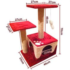 dealsdirect.com.au - Cat Scratching Poles Post Furniture Tree House Red
