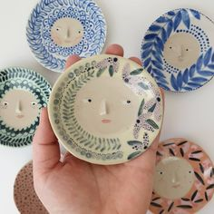 Sandra Apperloo, aka The Pottery Parade, creates charming face pots and other ceramics that are bustling with pattern and personality. Ceramic Shop, Ceramic Plates, Ceramic Pottery, Plate Drawing, Clay Plates, Face Planters, Pottery Designs, Pottery Ideas, Pottery Classes