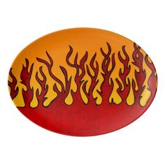 Flames Porcelain Serving Platter - red gifts color style cyo diy personalize unique