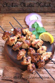 Chicken Malai Kabab Recipe | Afghan Murg Malai Tikka Kababs Recipe - Kothiyavunu.com