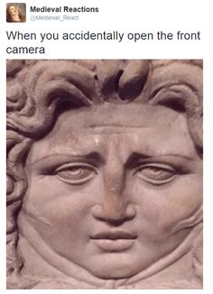 19 Times Art History Reactions Were Too Funny - History Memes - - When you accidentally open the front facing phone. 19 Times Art History Reactions Were Too Funny The post 19 Times Art History Reactions Were Too Funny appeared first on Gag Dad. Crazy Funny Memes, Really Funny Memes, Stupid Funny Memes, Funny Laugh, Wtf Funny, Funny Relatable Memes, Funny Cute, Funny Stuff, Funny Memes For Kids