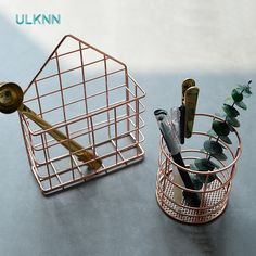 Creative Hollow Iron Pen Container Rose Gold Color Stainless Steel Storage Box Metal Office Desk Organizer Wall Storage Holder-in Storage Boxes & Bins from Home & Garden on Aliexpress.com | Alibaba Group
