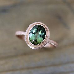 Green Tourmaline Ring in Brushed Band, 14k Rose Gold Halo Ring Engagement or Wedding Ring Ready To Ship 7.25