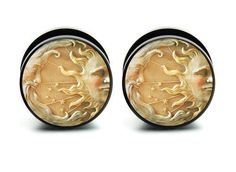 Pair of Acrylic Sun & Moon ear plug gauges tunnel screw on backs on Etsy, $14.99