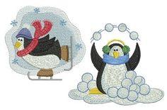 Christmas Penguins Set, 10 Designs - 4x4