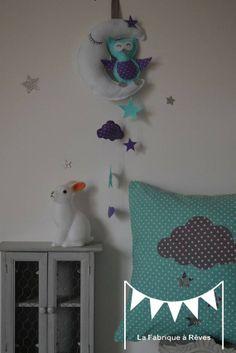 Guirlande étoiles turquoise violet mauve gris - décoration chambre enfant bébé - décoration mariage - décoration baptême - accessoires