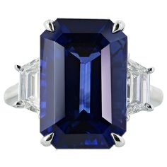 14.15 Carat Ceylon Sapphire Diamond Ring | From a unique collection of vintage three-stone rings at https://www.1stdibs.com/jewelry/rings/three-stone-rings/