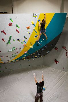 Bouldering at the LA.B, LA's latest and greatest indoor bouldering gym. Great spotting too!