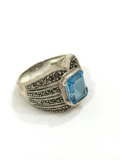 Sterling & Blue Topaz Ring Chunky Sterling Ring Marcasite