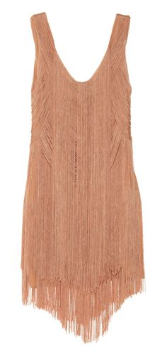 Haute Hippie Fringed Silk Mini Dress Flapper style coming back!  Beautiful neutral color for spring summer, paired with nude or brown strappy heels and gold bangles