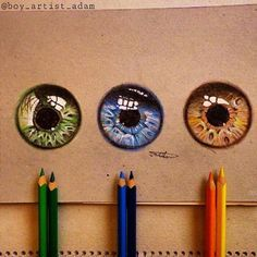 Eyes in colored pencil