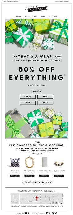 Crew That's A WrapHoliday Sale Newsletter Design - Email Marketing Inspiration - - J.Crew That's A WrapHoliday Sale Newsletter Design Email Template Design, Email Newsletter Design, Email Templates, Creative Newsletter, Design Templates, Website Design, Website Layout, Web Layout, Design Layouts
