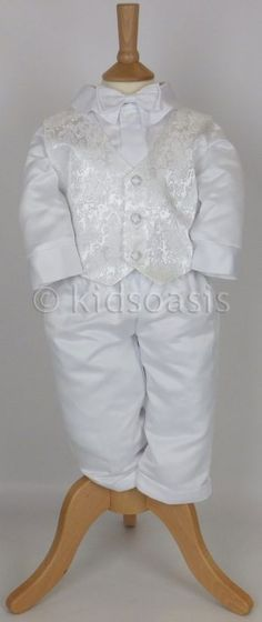 Baby Boy Christening Suits | Baby Boys 5 Piece White Christening Suit Outfit G14
