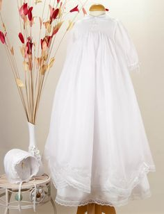 Pretty Originals Style BD1028 Smocked Christening Gown with Embroidered Cross