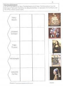 Famous artist lap book  Matching Masterpieces  Art class next year