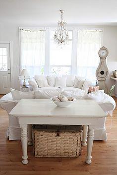 Cozy white living room.