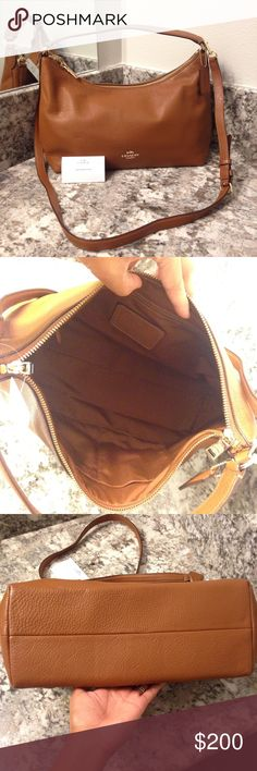 Beautiful East/West Celeste Hobo by Coach This is a medium sized bag in beautiful saddle brown pebbled leather.  Item is brand new with tag.  Check out matching wallet and wristlet in my closet 😍 Coach Bags Hobos