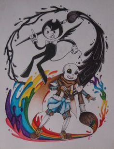 Bendy and the ink machine, undertale, Ink sans, bendy, fanart