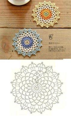 Crochet Coaster Pattern, Crochet Mandala Pattern, Crochet Flower Patterns, Crochet Diagram, Crochet Chart, Crochet Designs, Crochet Doilies, Crochet Lace, Crochet Stitches