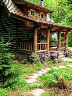 Log Cabin, I love the round logs with the white chinking between