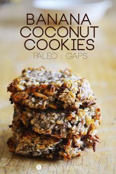 Banana Coconut Cookies (grain-free, gluten-free, dairy-free, and paleo) Gluten Free Baking, Gluten Free Desserts, Dairy Free Recipes, Healthy Desserts, Real Food Recipes, Primal Recipes, Gaps Diet Recipes, Healthy Cookie Recipes, Diabetic Snacks