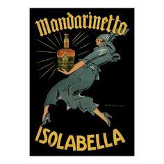 Mandarinetto Isolabella Vintage Liquor Poster