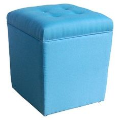Tapered Tufted Storage Ottoman - Blue